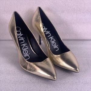 CALVIN KLIEN Gold Gayle Metallic Heels